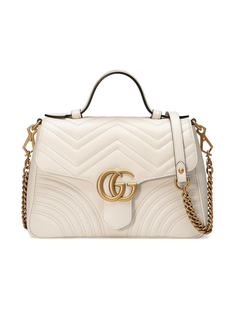 2439646a6ac Lyst - Gucci White GG Marmont Small Tote Bag in White - Save 25%