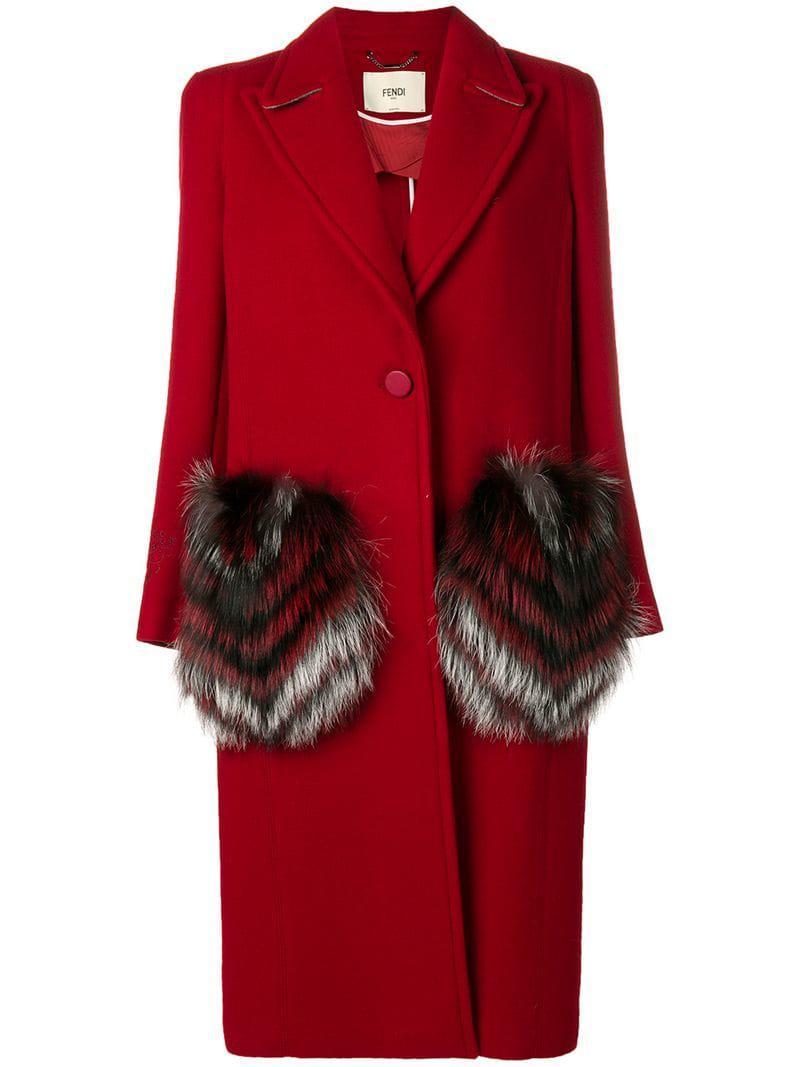 44a21df8df92 Fendi - Red Fur Pocket Single Breasted Coat - Lyst. View fullscreen