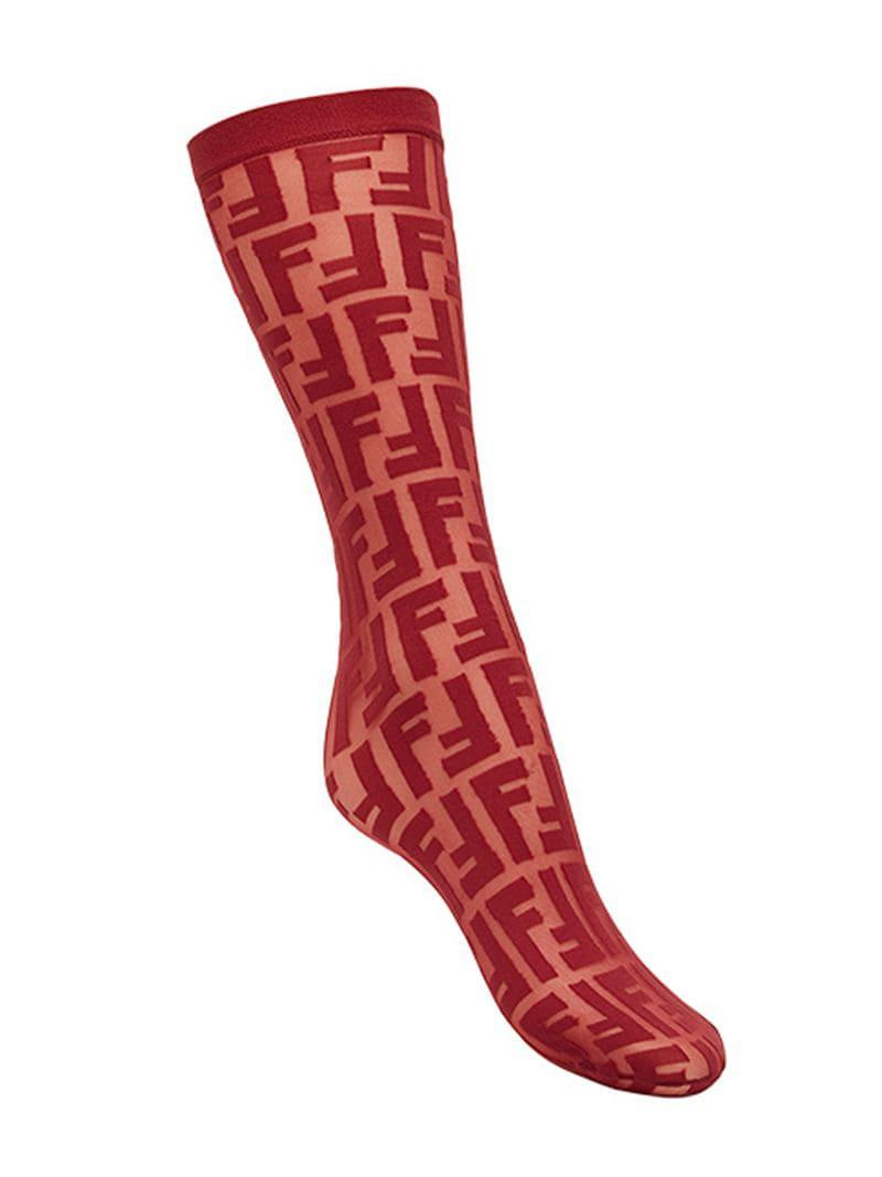 7b7cb8436 Fendi Ff Logo Embroidered Socks in Red - Lyst