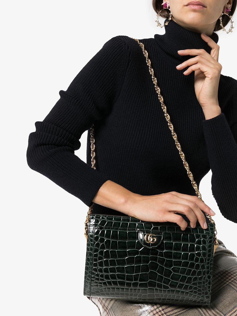1b85e0f6c9e Gucci Green Ophidia Small Crocodile Leather Shoulder Bag in Green - Lyst