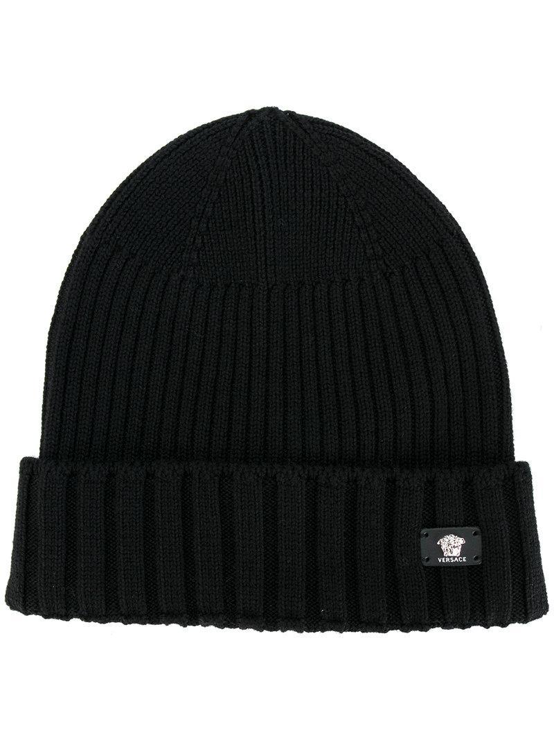 b275f4f7 Versace - Black Logo Ribbed Beanie for Men - Lyst. View fullscreen