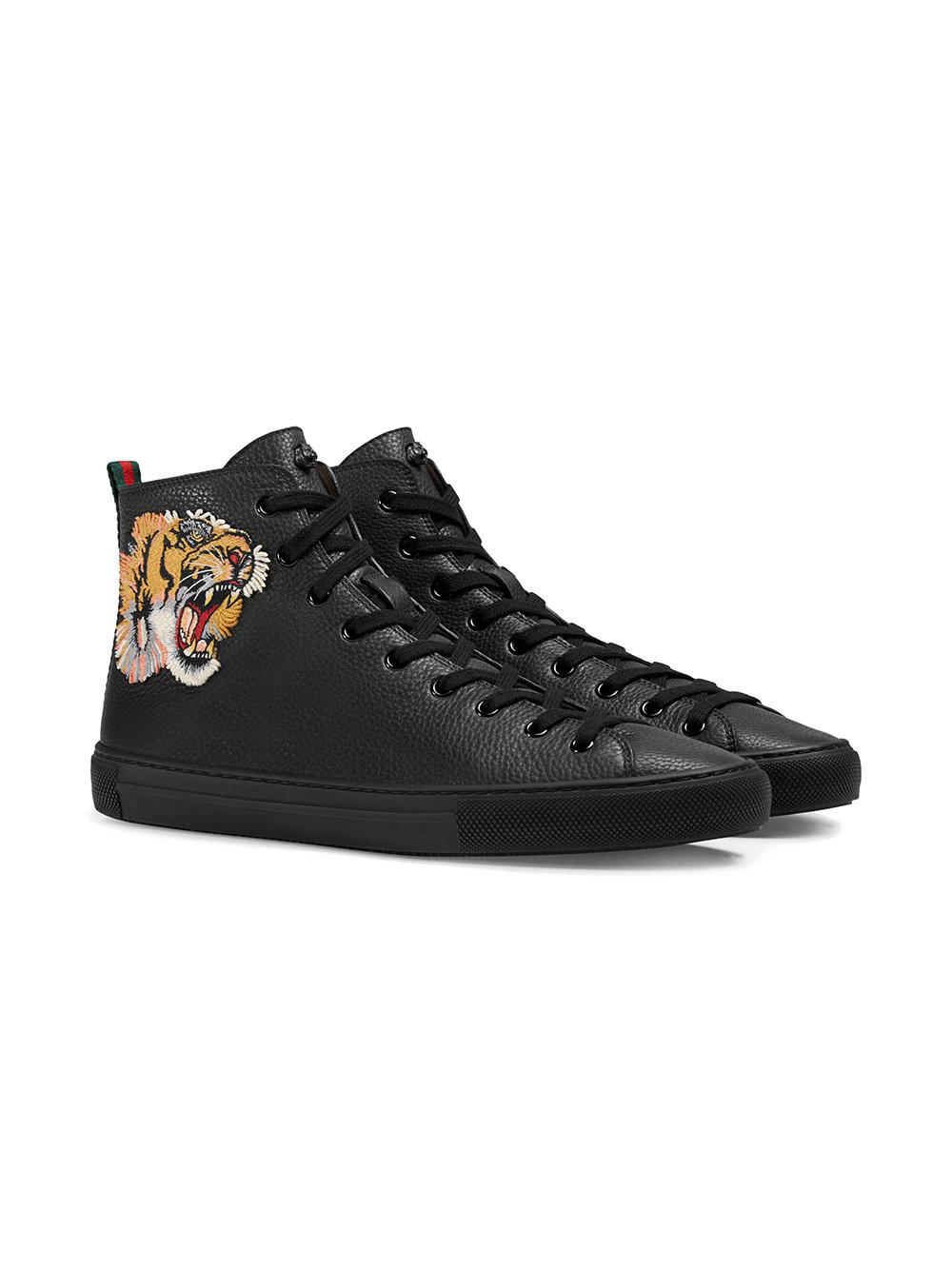 be056d1a593 Gucci Sneaker Alta In Pelle Con Tigre in Black for Men - Save 11% - Lyst