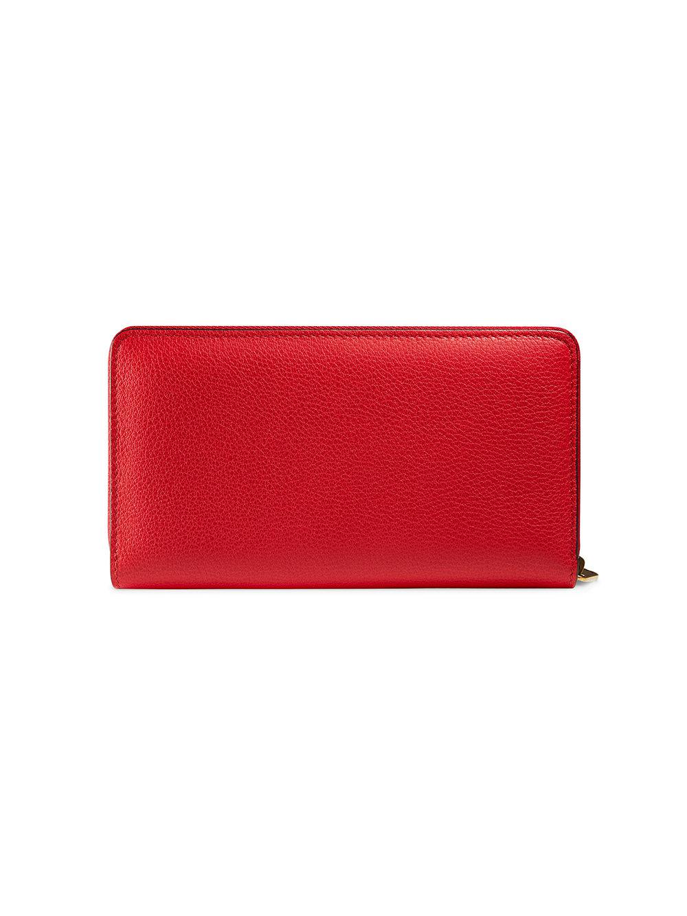 5b4089b0d7f Gucci Print Leather Zip Around Wallet in Red for Men - Save 13% - Lyst