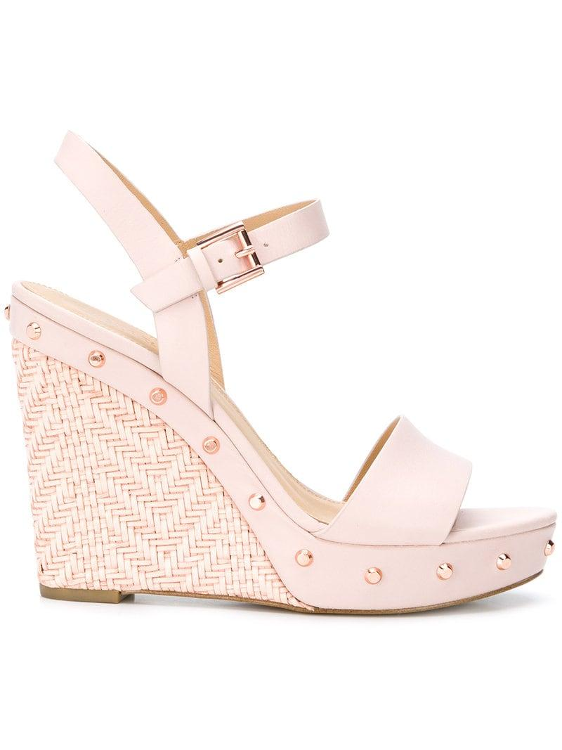359e3b74e323 Lyst - MICHAEL Michael Kors Jill Studded Wedge Sandals in Pink