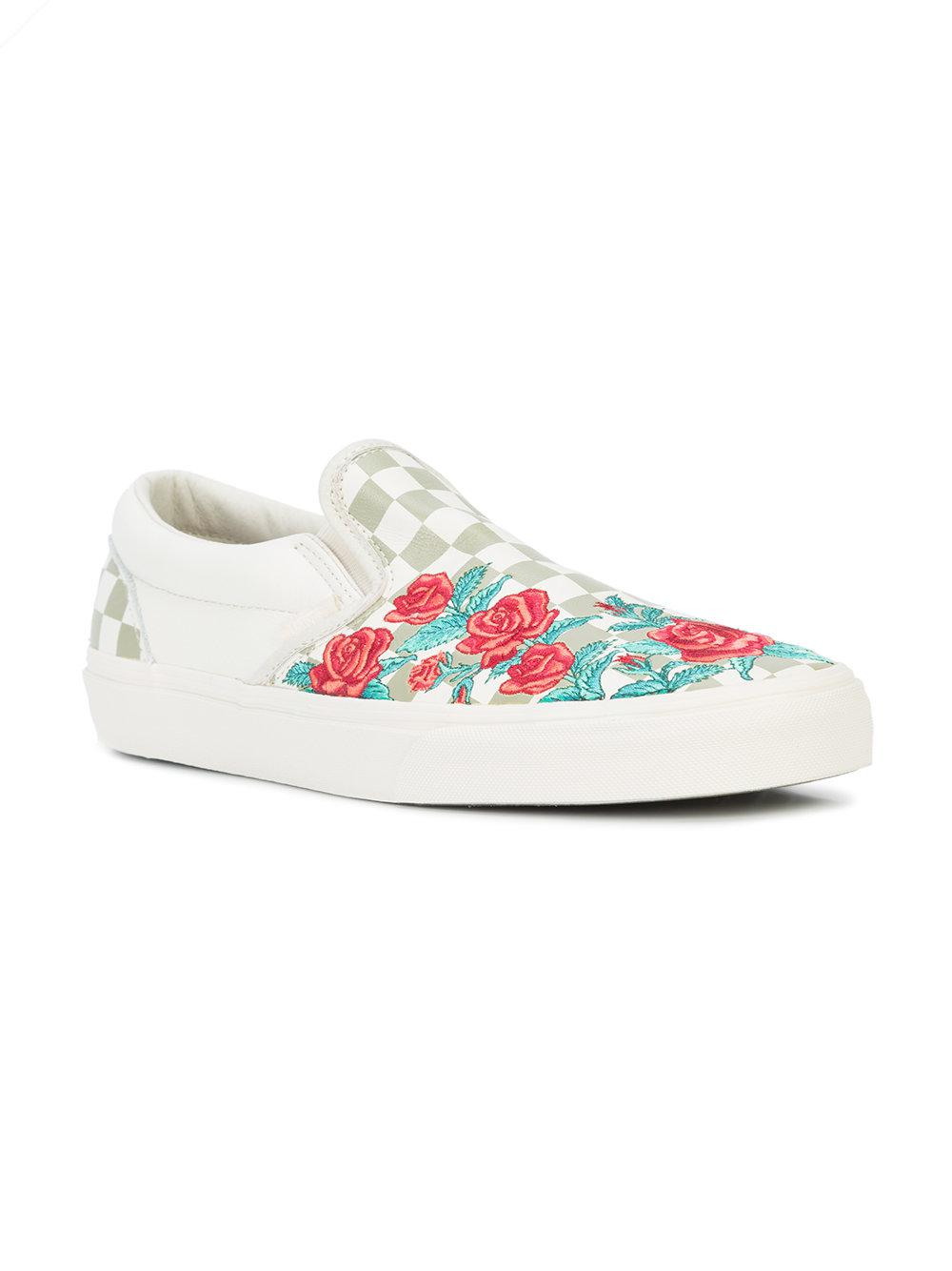 11fc4f32422 Lyst - Vans Rose Embroidery Slip-on Dx Sneakers in White