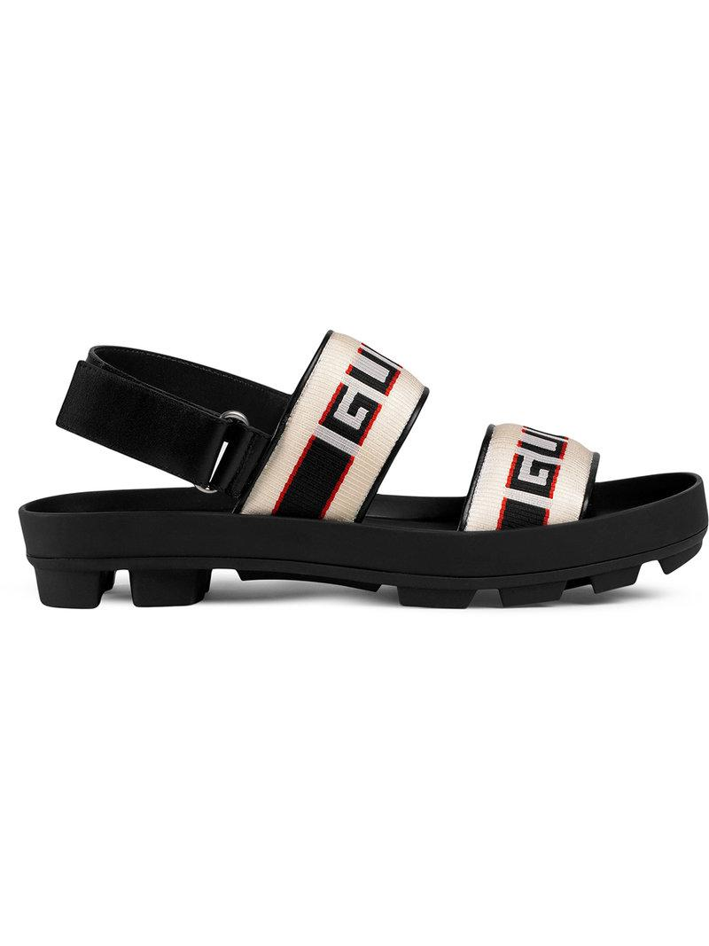 16a26662367 Gucci Stripe Strap Sandal in Black for Men - Save 10% - Lyst