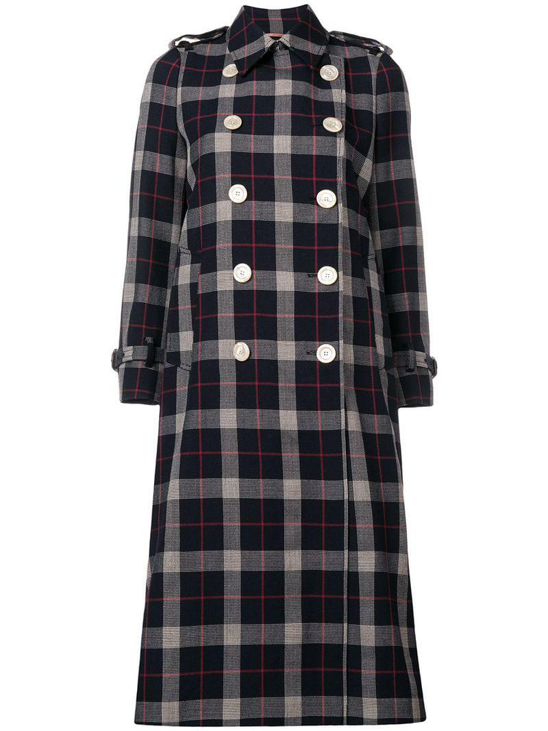 dd23ed08df83 Gucci Checked Double Breasted Coat in Blue - Lyst