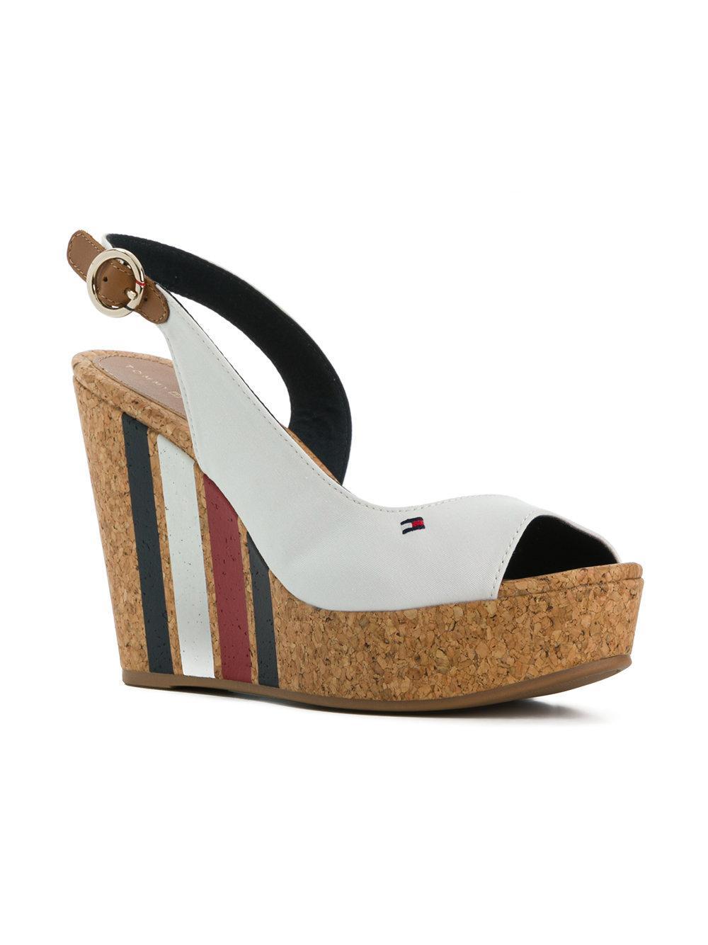 2293640d8 Tommy Hilfiger - White Striped Wedge Heel Sandals - Lyst. View fullscreen