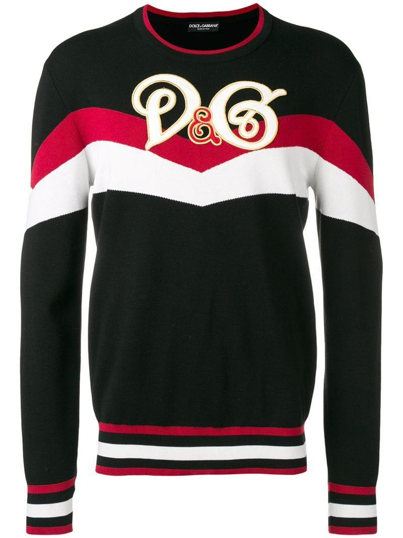 19de9084 Lyst - Dolce & Gabbana Logo Colour-block Sweater in Black for Men