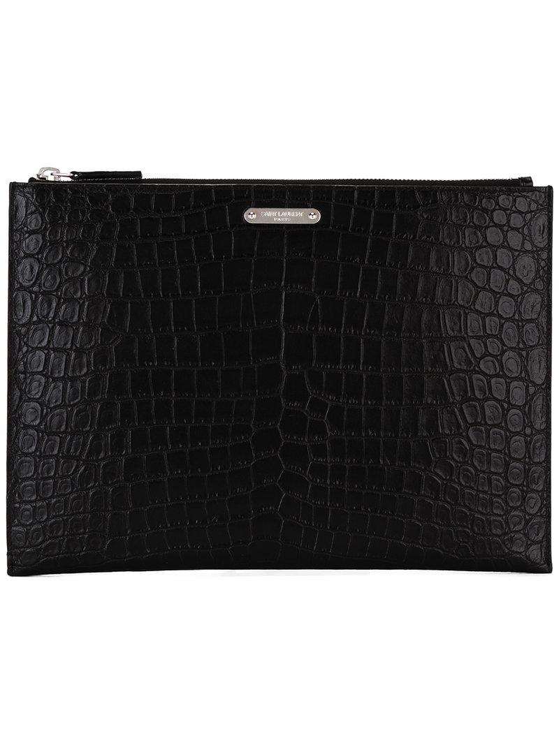f86a470ec4c Saint Laurent Id Tablet Holder Pouch in Black for Men - Lyst