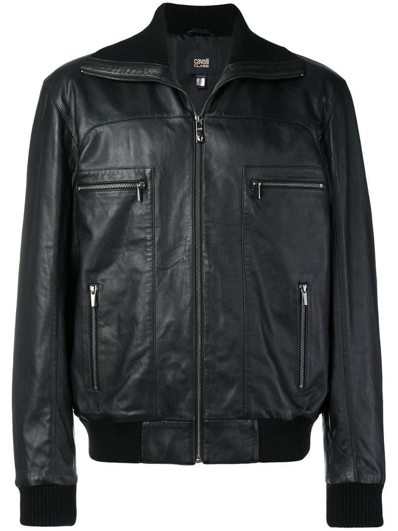 Class Roberto Cavalli Leather Bomber Jacket in Black for Men - Lyst a0fd147f7b5
