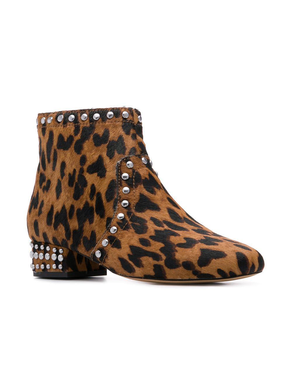 4481604c84cdb3 Lyst - Sam Edelman Leopard Print Boots in Brown