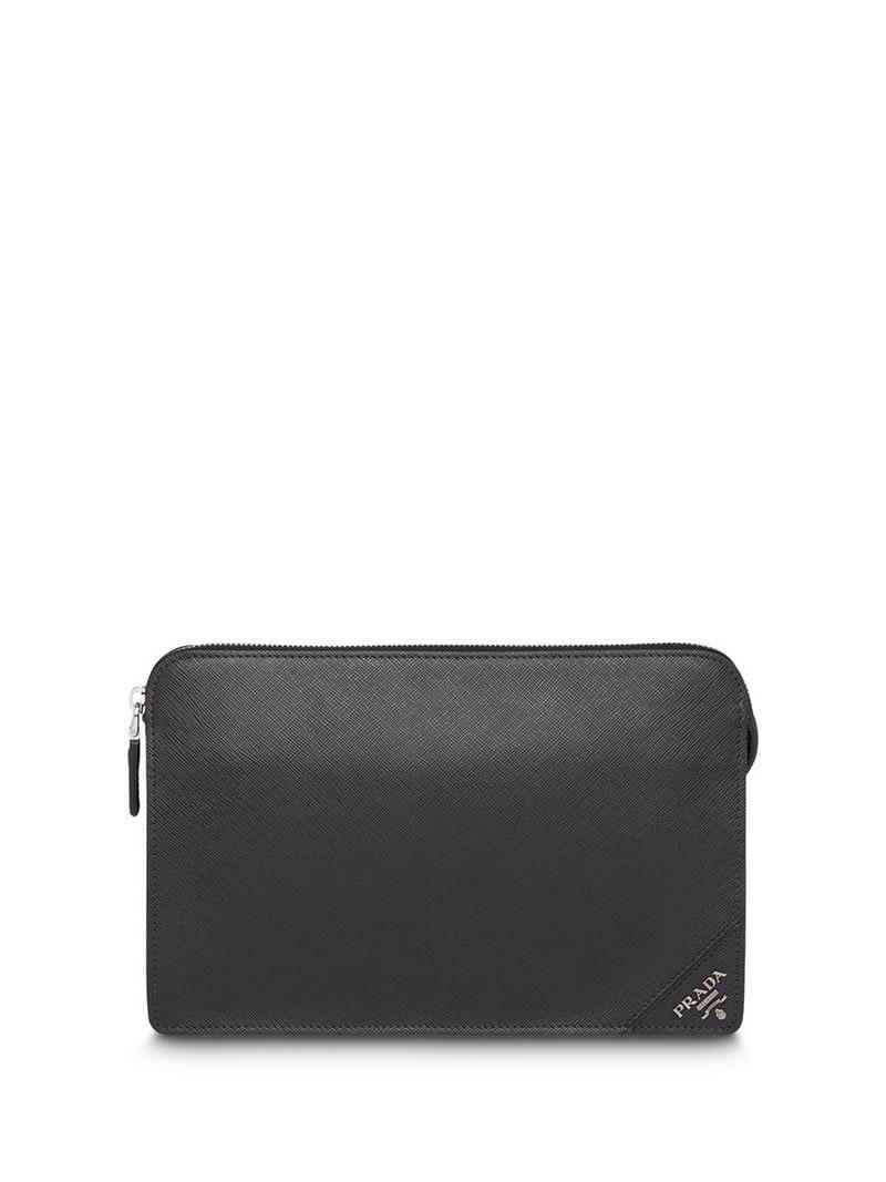 19ec37cede44 Prada - Black Logo Clutch Bag for Men - Lyst. View fullscreen