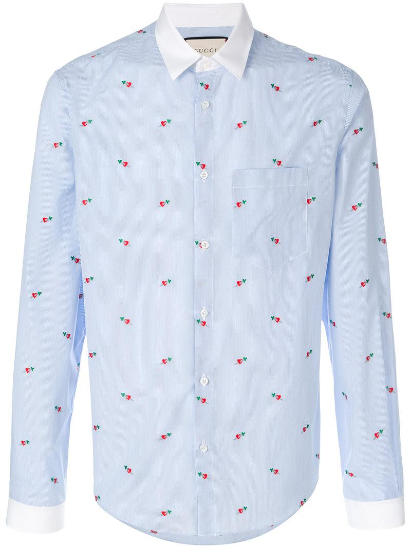 bc6c601b1e8 Lyst - Gucci Heart Fil Coupé Duke Shirt in Blue for Men