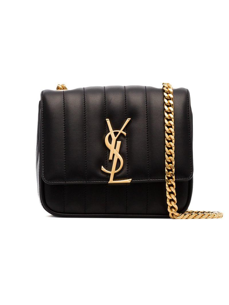 d551e03e3812 Saint Laurent Black Vicky Small Quilted Shoulder Bag in Black - Lyst