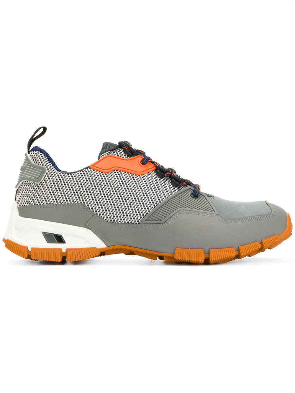 fa53b710f77 Lyst - Prada Lace-up Sneakers in Gray for Men