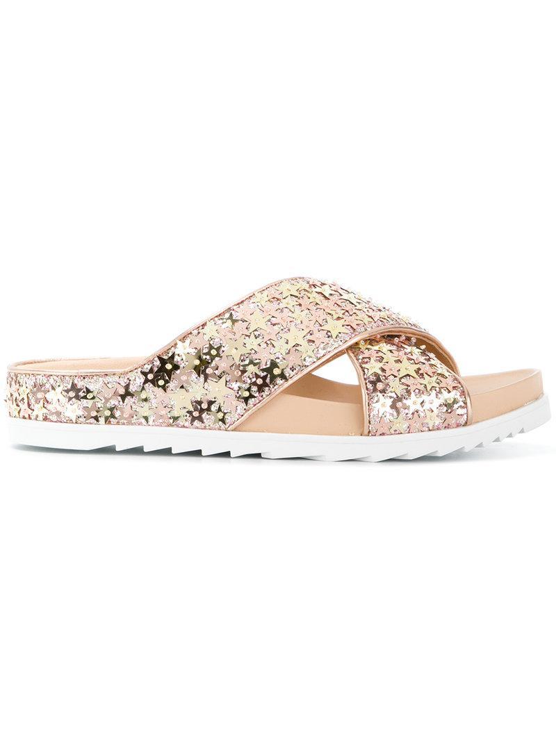 star appliqu�� sandals - Metallic Ash P5IDOSpqTe