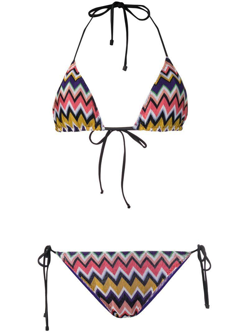 fb26338ea2c66 Lyst - Missoni Zig Zag Knitted Bikini in Purple