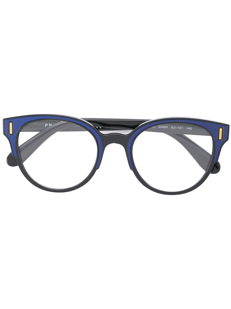 8ff392e7f78 Lyst - Prada Round Glasses in Blue