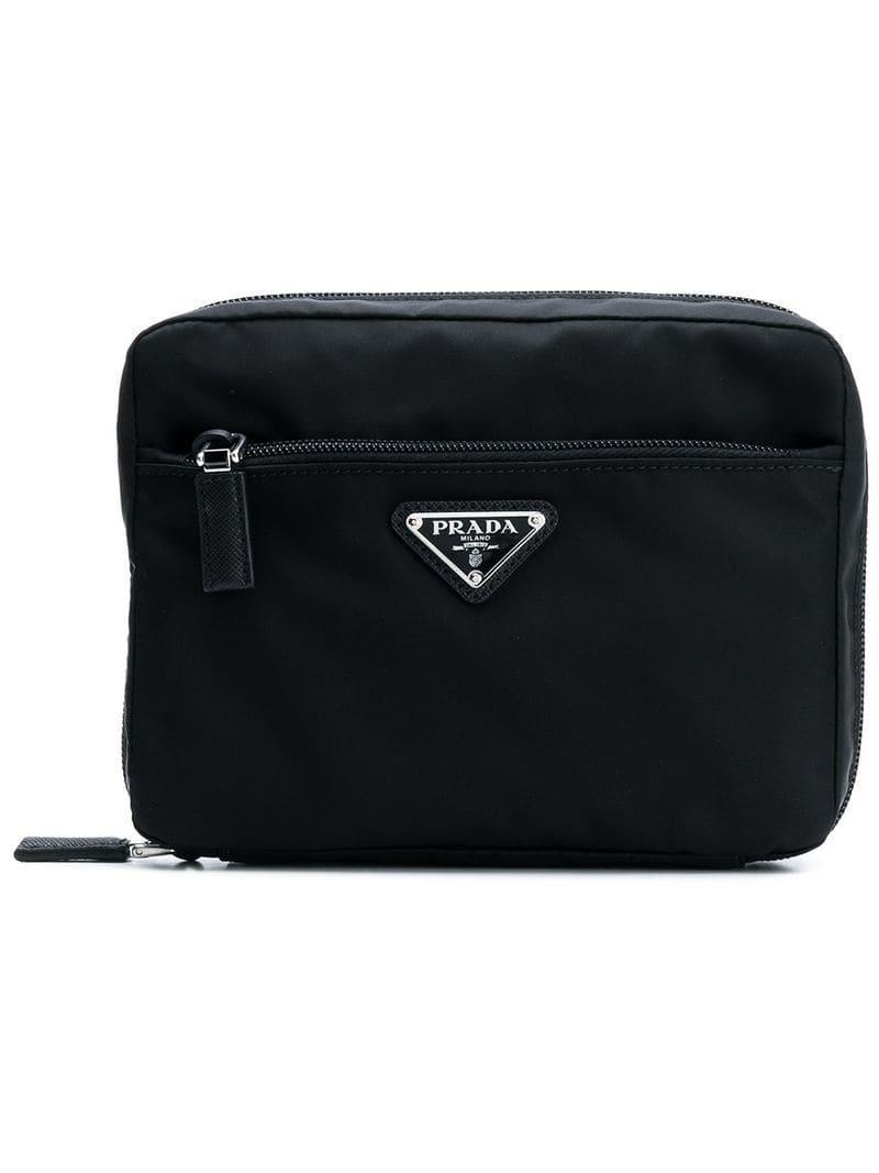 Lyst - Prada Logo Wash Bag in Black for Men ce35f7bb0e