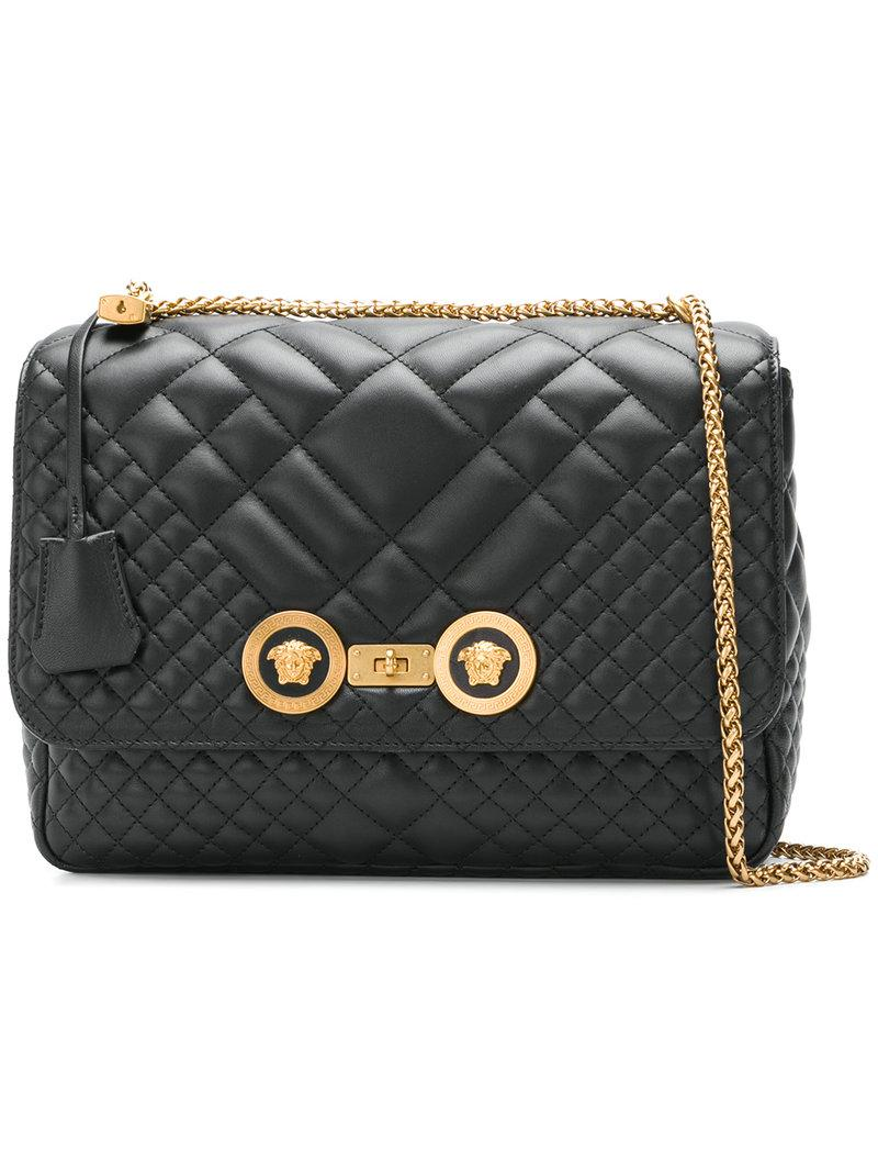 05ddbcf8d942 Versace Icon Quilted Shoulder Bag in Black - Lyst