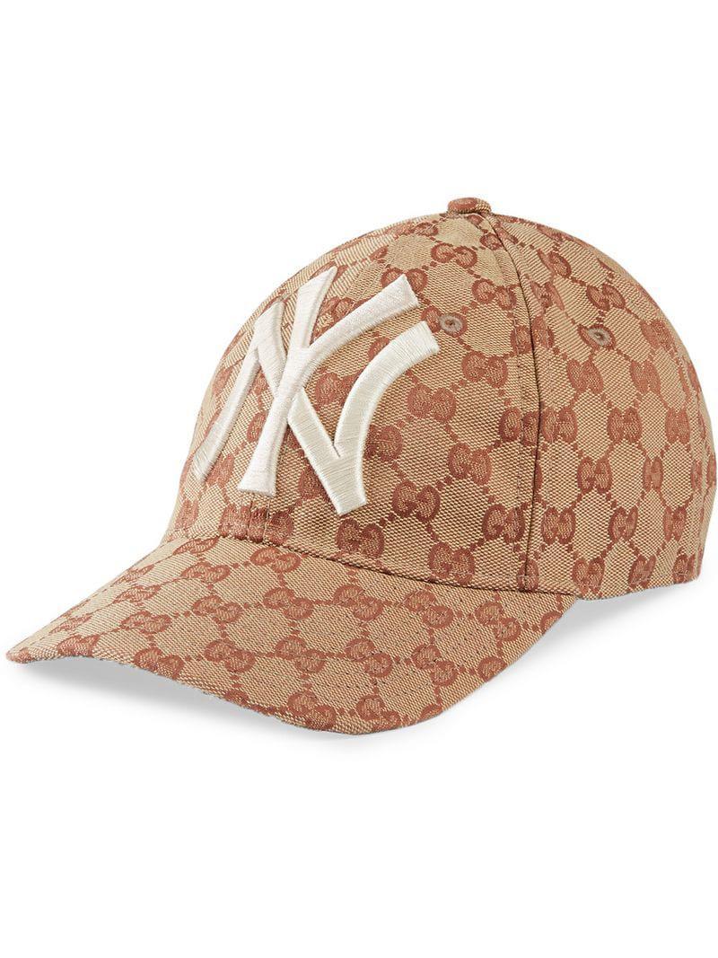 Lyst - Gorra de béisbol con parche NY YankeesTM Gucci de color Marrón b301804f013