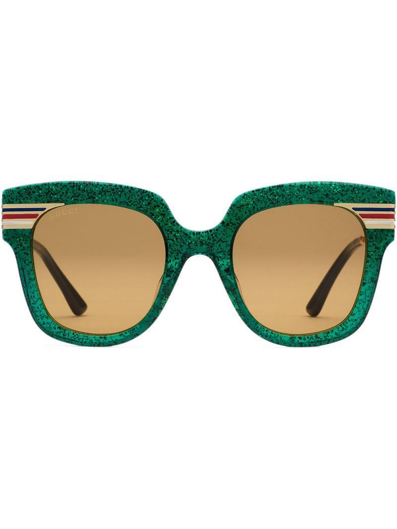 3d3c92d768 Gucci Square-frame Sunglasses in Green - Lyst