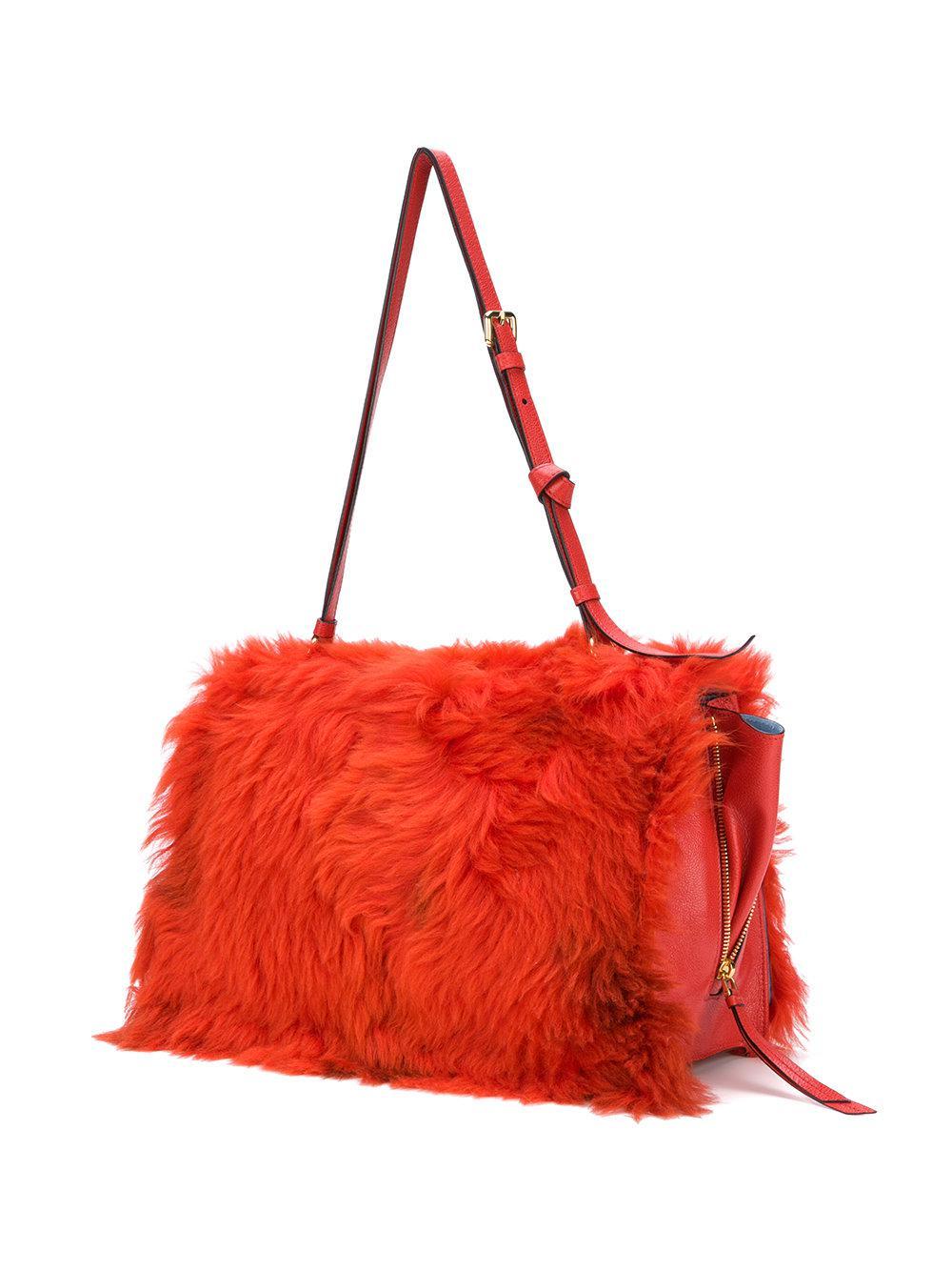Shearling flap bag - Red Prada 8t1oyg8