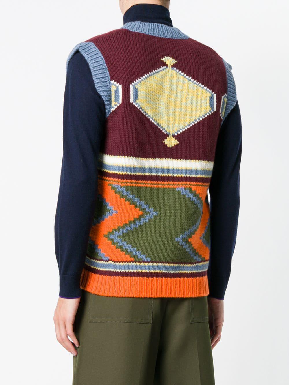 8a39e4740f66 Prada Intarsia V-neck Sweater Vest in Red for Men - Save 50% - Lyst