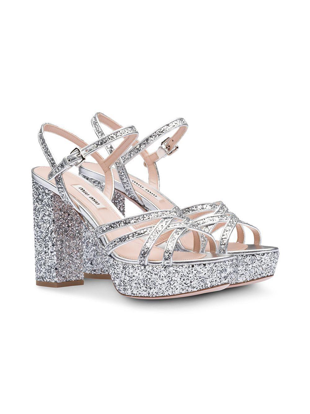 7e85e78255 Miu Miu Glitter Platform Sandals in Metallic - Save 50% - Lyst