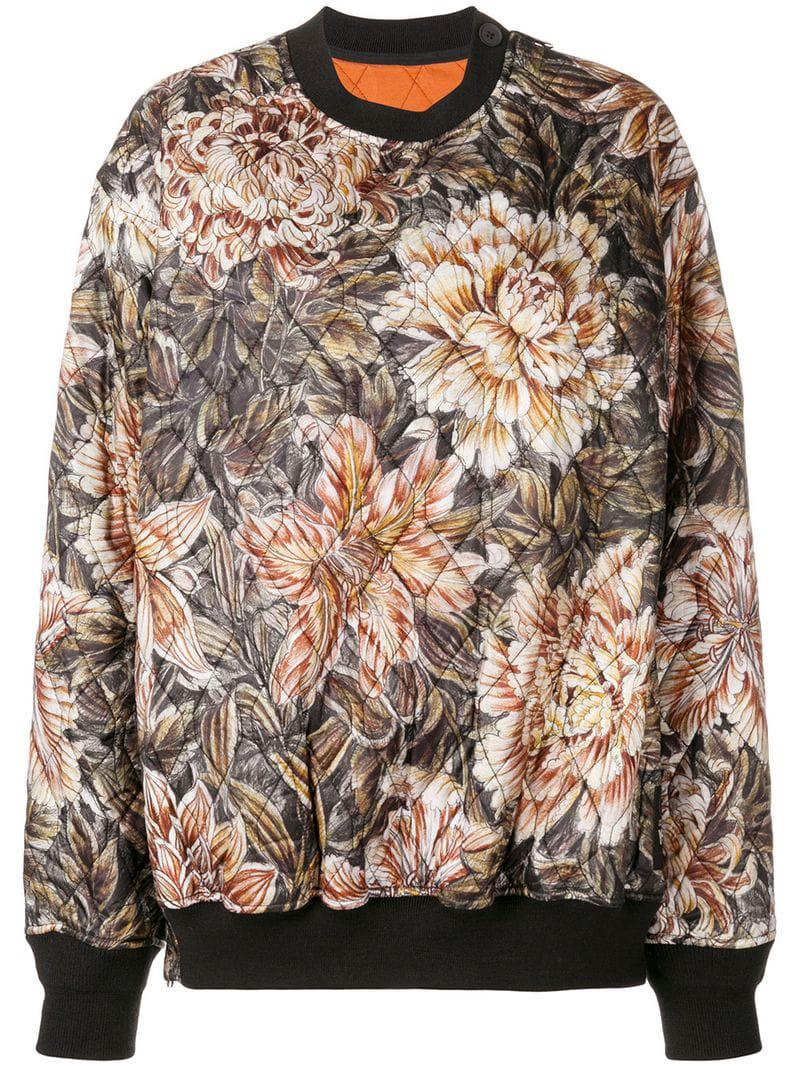 95dc1d303 Y-3 Quilted Floral Print Oversized Sweater - Lyst