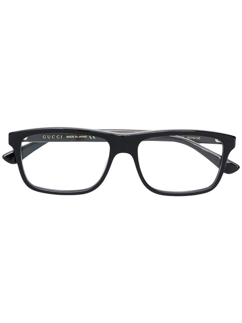 3ee97b1521 Lyst - Gucci Rectangular Frame Glasses in Black for Men