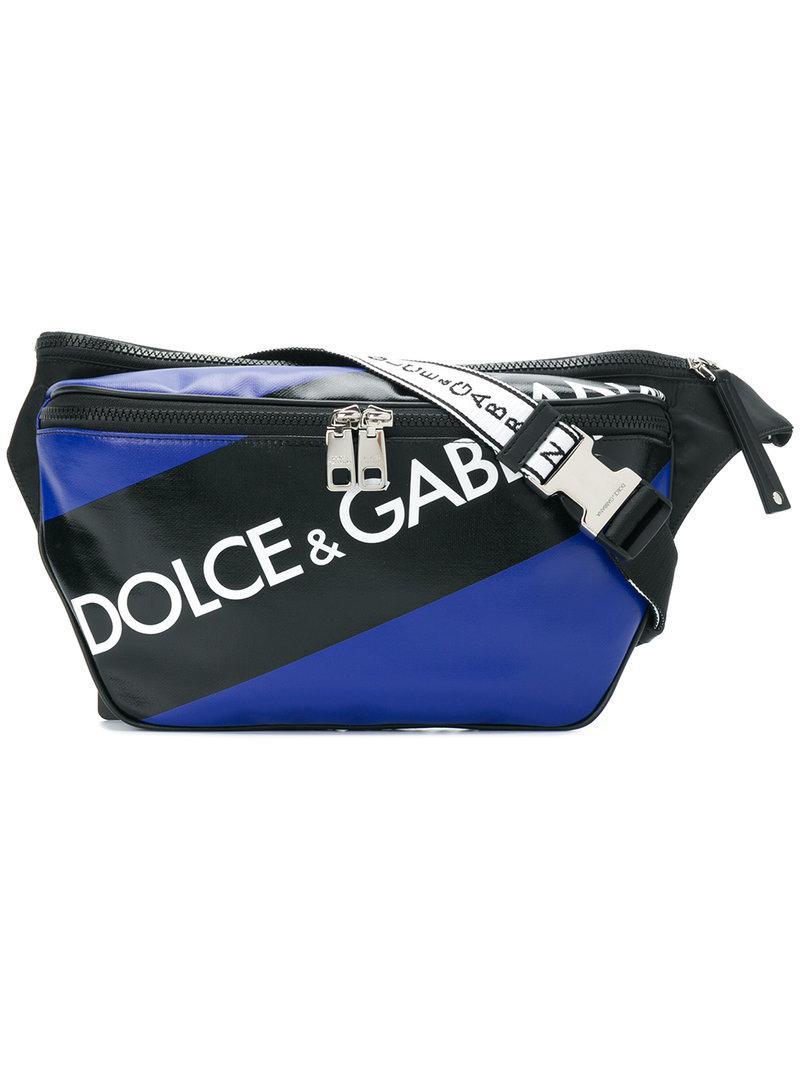 fd08ebe003ee Dolce   Gabbana Logo Panel Belt Bag in Blue for Men - Lyst