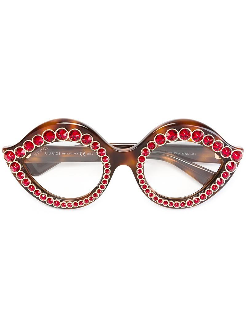 f3ab9920fdd Lyst - Gucci Swarovski Crystals Embellished Glasses in Brown