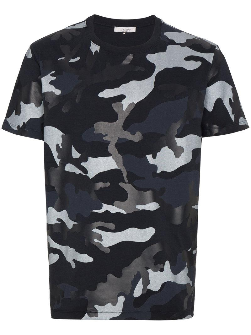 8a09474e2 Lyst - Valentino Camouflage Round Neck T Shirt in Black for Men