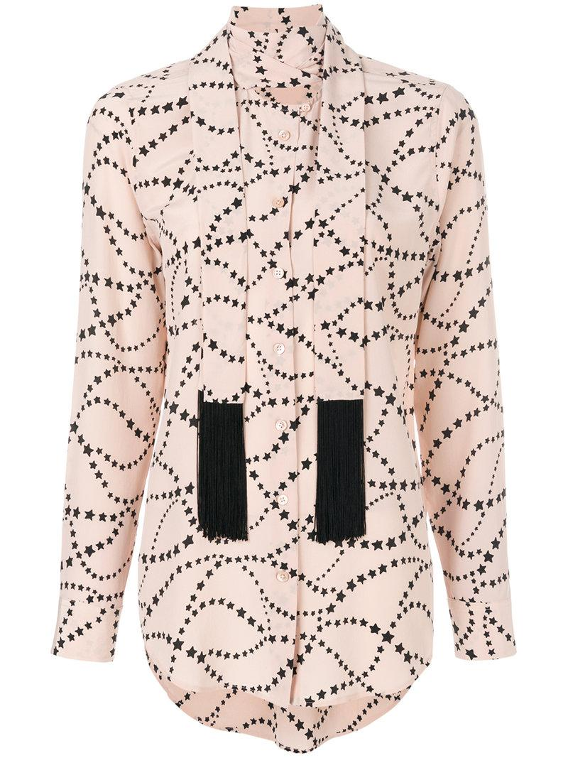 c08a2f02512a03 Lyst - Equipment Tie Neck Star Patterned Blouse