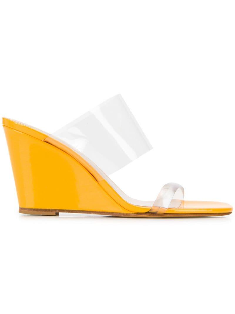 351b106e953 Maryam Nassir Zadeh Olympia Wedge Mules in Yellow - Save 41% - Lyst