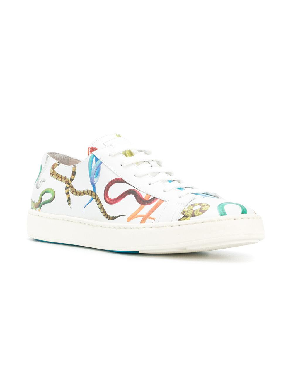 snake print lace-up sneakers - White Santoni Buy Cheap Clearance AypDnEgc
