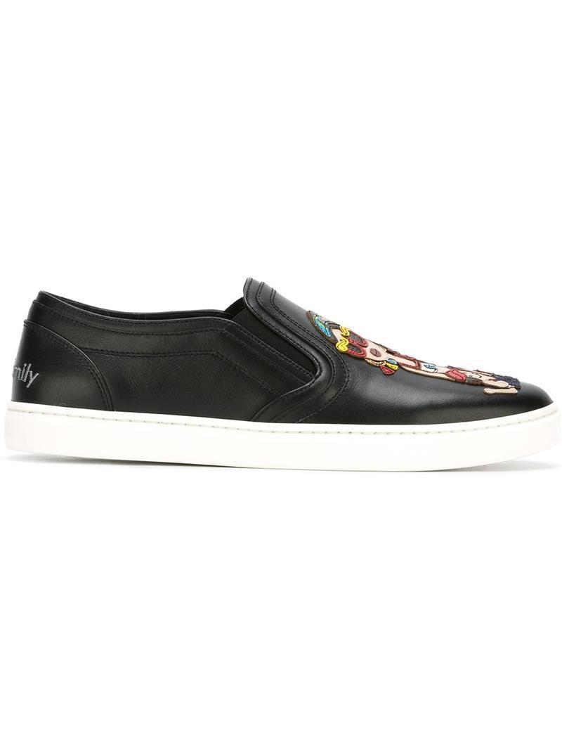 Family patch slip-on sneakers - Black Dolce & Gabbana 4QfBDV3z