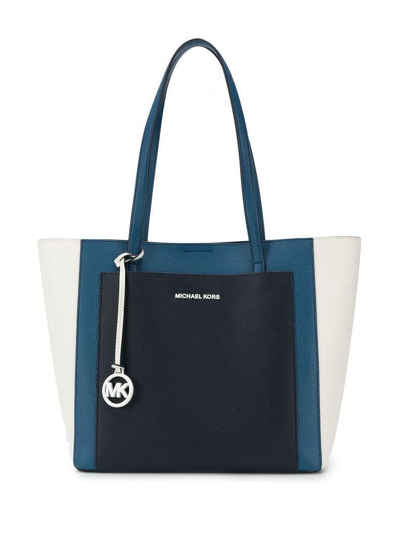 0f901c6e8541ba Lyst - MICHAEL Michael Kors Gemma Large Tri-colour Tote in Blue