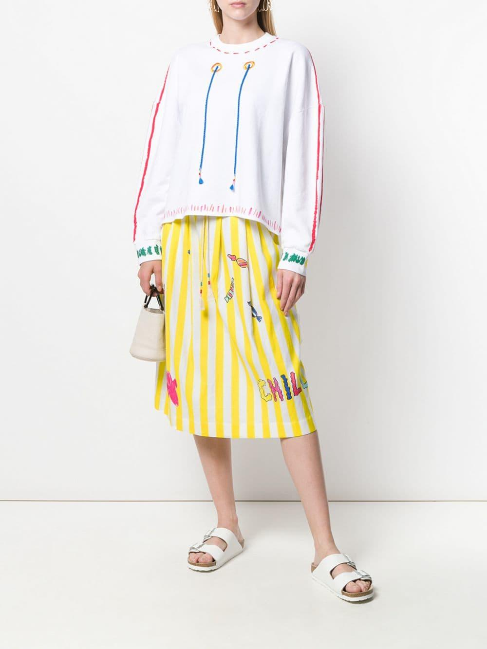 ec8e7d28635b Lyst - Mira Mikati Striped Graphic Skirt in Yellow