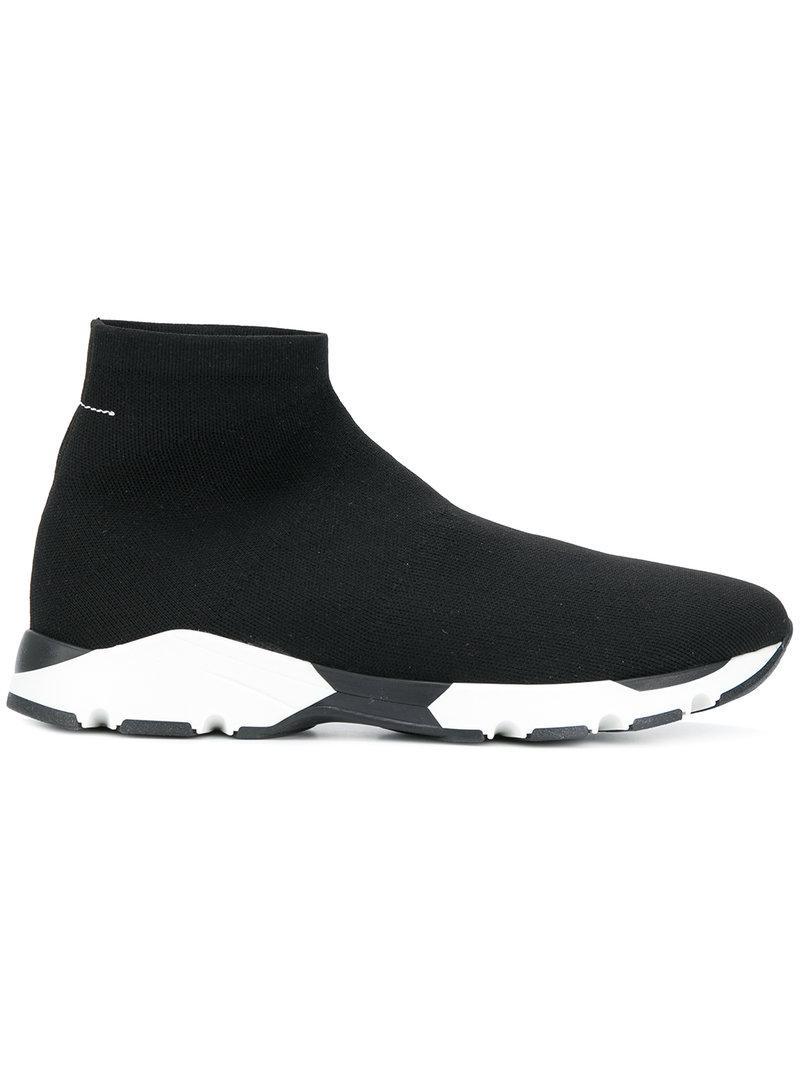Mm6 Maison Martin Margiela Étirement Noir Chaussures En Cuir De Chaussettes tHn5gW7