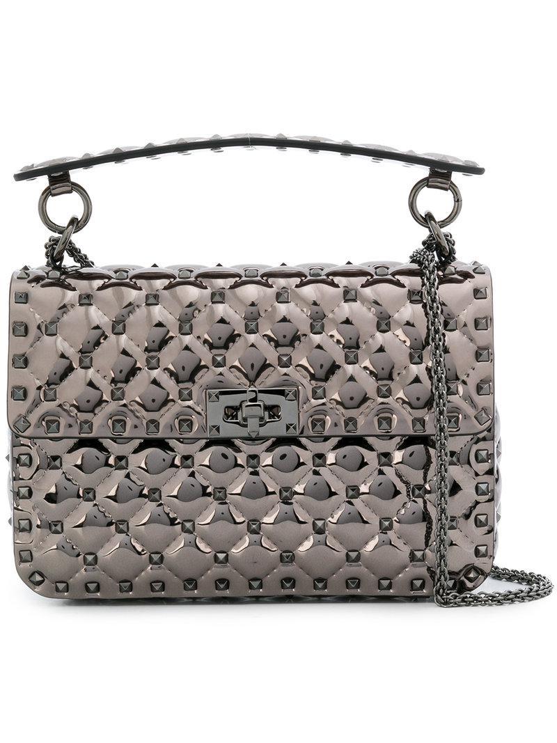 abb9fd54c8 Valentino Garavani Rockstud Spike Crossbody Bag in Metallic - Lyst