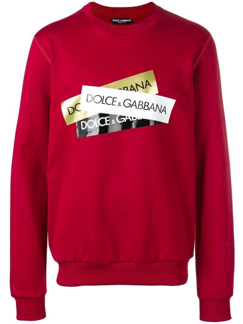 7faaf9d8 Dolce & Gabbana - Red Logo Print Sweatshirt for Men - Lyst. View fullscreen