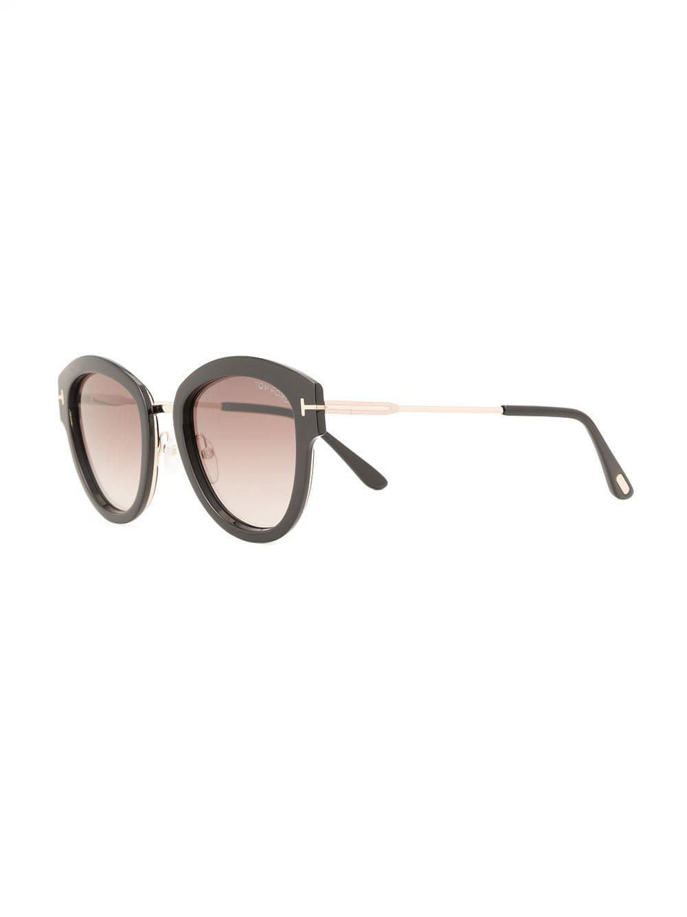 c97244a648 Tom Ford Round Frame Sunglasses in Black - Lyst