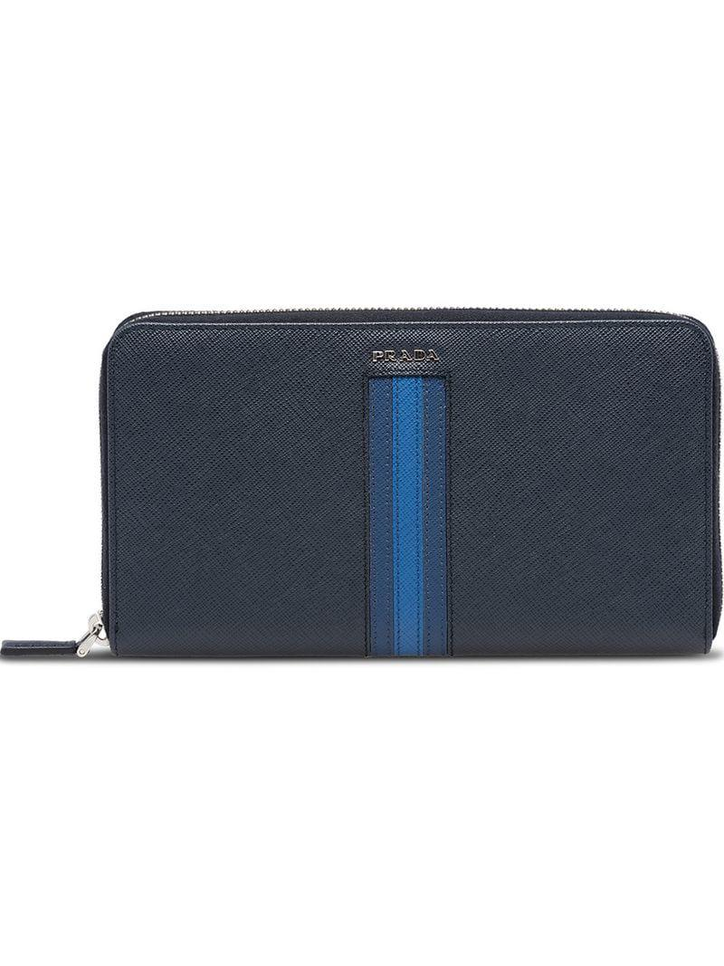 24e342769099 Prada Saffiano Leather Wallet in Blue for Men - Save 20.0% - Lyst