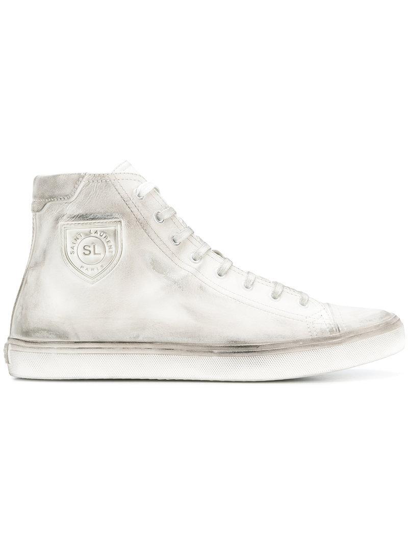 7c7ff16857ae4 Lyst - Saint Laurent Bedford Hi-top Sneakers in White for Men