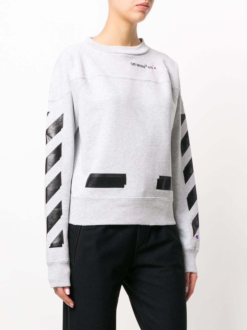 off white c o virgil abloh arrows champion sweatshirt in gray lyst. Black Bedroom Furniture Sets. Home Design Ideas