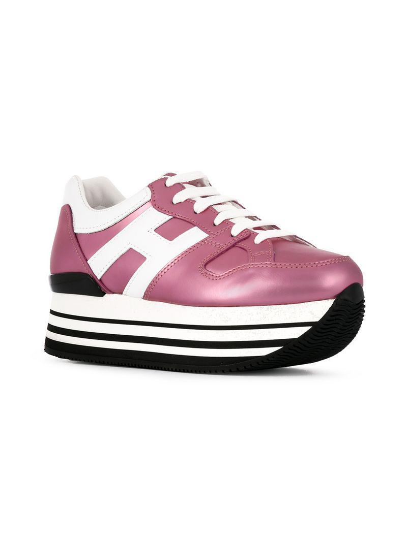 2efebf6571 Lyst - Hogan Logo Lace-up Sneakers in Pink