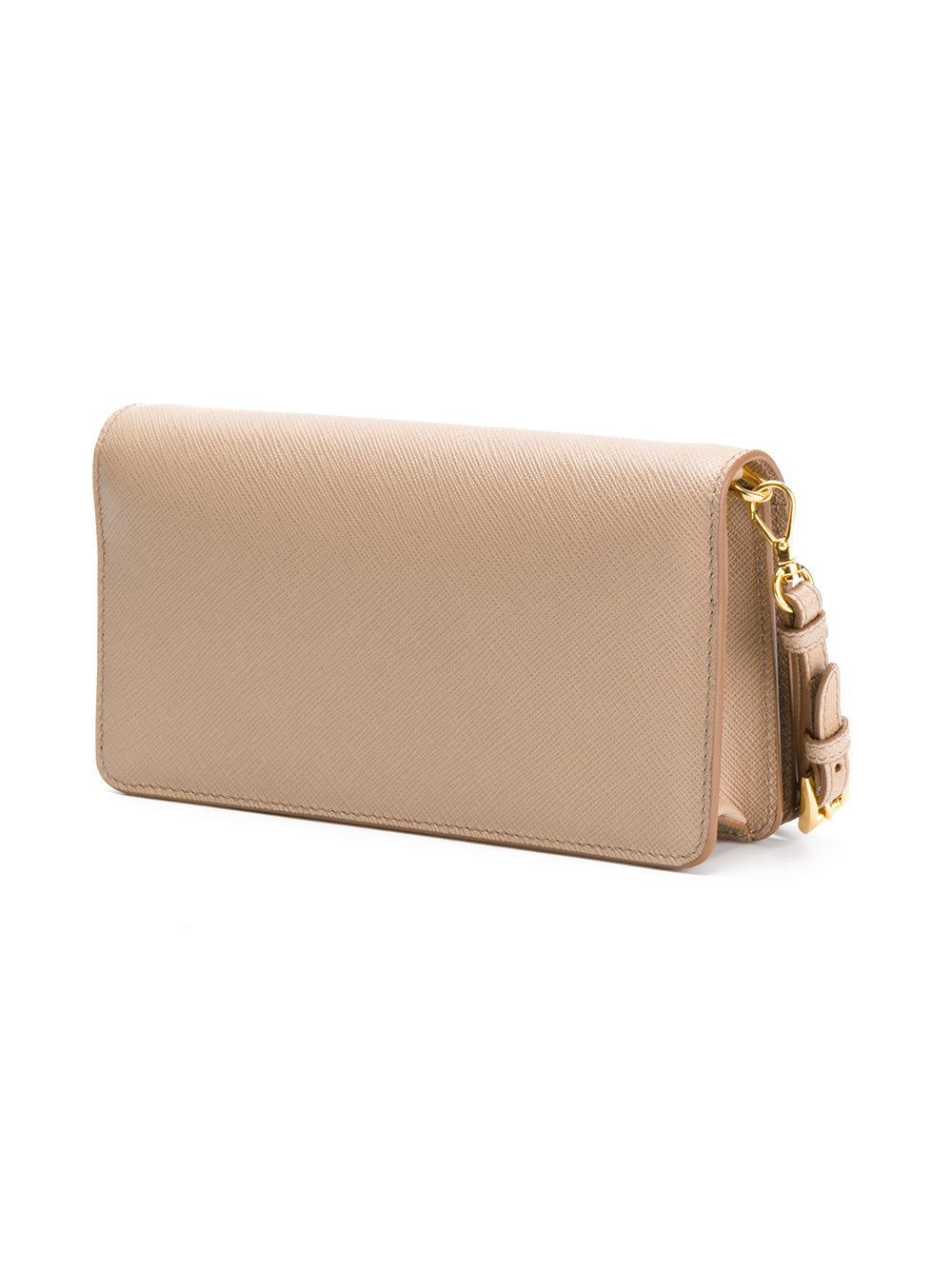 b2dcde2f7648d9 Prada Saffiano Wrist Clutch Bag in Natural - Lyst